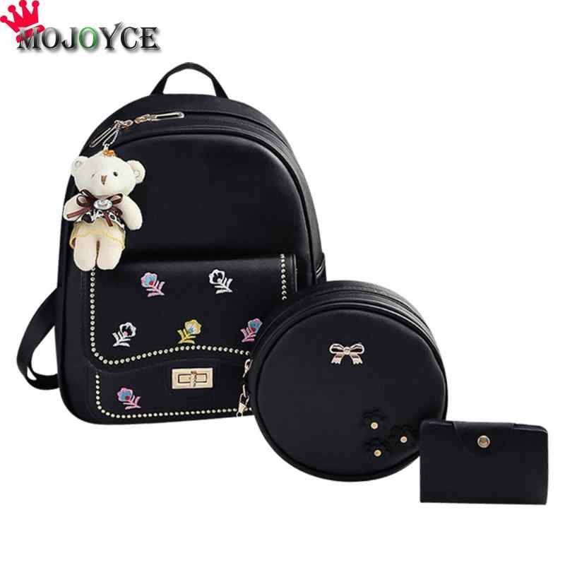3pcs/Set Women Fashion Embroidered Backpack Crossbody Bag Clutch Key Bag Composite Leather Backpack Backpacks And Sac A Dos