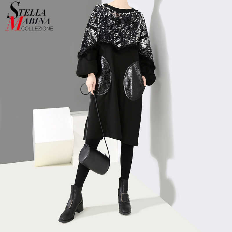 New 2018 Women Winter Clothes Long Sleeve Black Loose Sequins Dress Plus  Size Knee Length Lady b0ccdab7b332