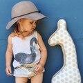 2016 Nova Moda Do Bebê Dos Miúdos Primavera Verão Vest Swan Imprimir Tops T-shirt Tee Crianças Crianças Roupas Das Meninas Dos Meninos