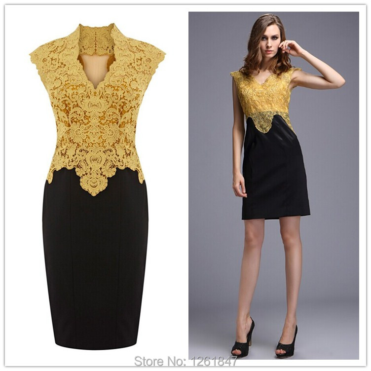 d6e3938f973 Europe and America Ladies  new boutique embroidered Bodycon dress sexy  v-neck lace dresses spell color cultivate Evening dress