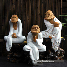 Tibet Meditation Dharma Statue Ceramic Buddhism Figure Figurine Sculpture Zen Buddha Statues for Home Decor