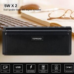 Image 2 - TOPROAD ポータブル 10 ワット Bluetooth スピーカー Hifi ワイヤレスステレオビッグパワーサウンドボックスサブウーファー列スピーカーサポート TF FM ラジオ AUX