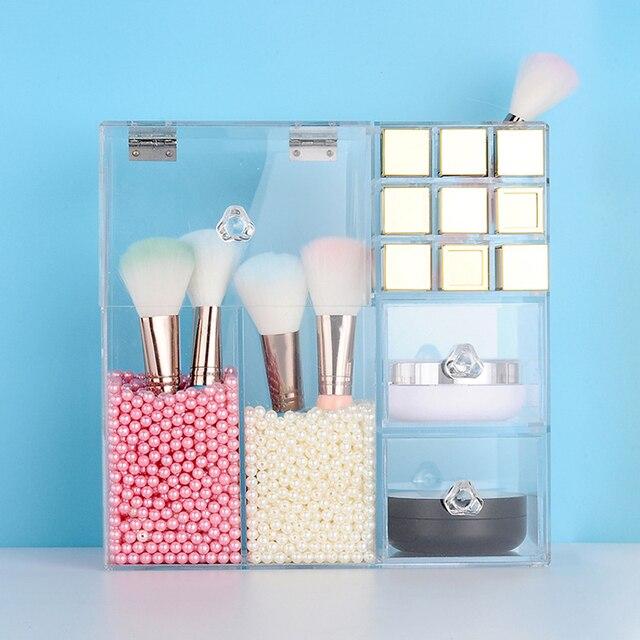 Acrylic transparent Makeup Organizer Storage Boxes Drawers Make Up Organizer For Cosmetics Brush Lipstick Organizer Home Storage