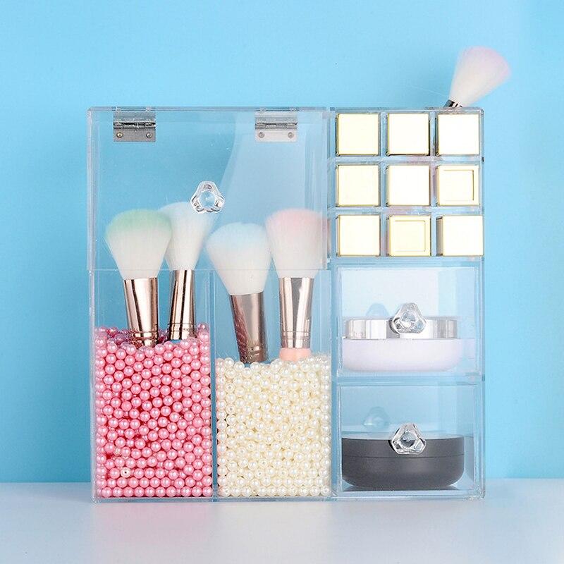 Acrylique transparent Maquillage Organisateur Boîtes De Rangement Tiroirs Maquillage Organisateur Pour Cosmétiques Brosse Rouge À Lèvres Organisateur de Stockage À La Maison