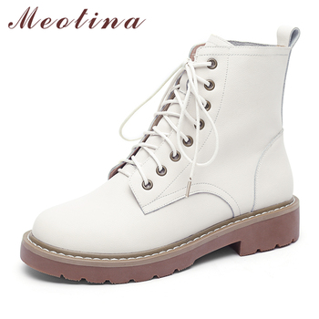 Meotina Natural Real Leather Boots Winter Ankle Boots Low Heel Motorcycle Boots Women Lace Up Punk Genuine Leather Shoes Beige