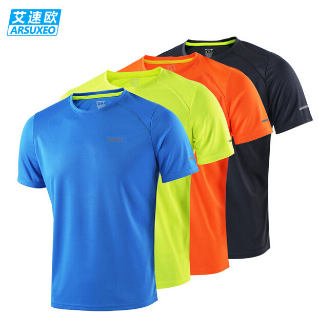 ARSUXEO font b Men s b font Summer Running Short Sleeve Jersey Outdoor Sports T Shirt