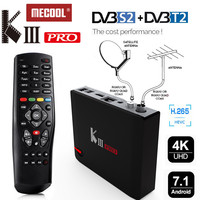 MECOOL All In One 4K 3G Ram Android 7.1 DVB T2 Terrestrial DVB S2 Satellite TV Tuner Combo Bluetooth Wifi Cccam Biss Smart Box