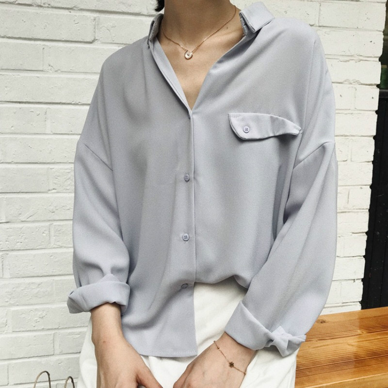 Mode coréenne dames élégant col en v à manches longues lâche chemises femmes 2019 décontracté grande taille hauts et blouse blanc