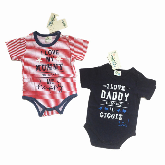 2f617a634a8a Baby Clothes Baby Boy Rompers 100% Soft Cotton Short Sleeve Love Mummy  Daddy Newborn Girls Jumpsuit Baby Infant Onesie Costume