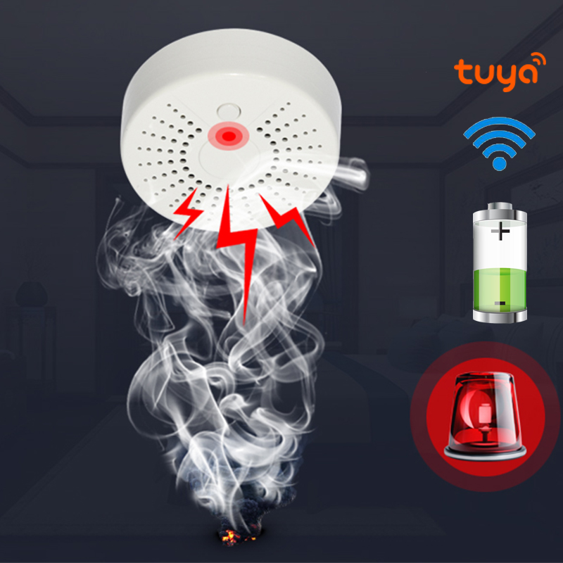 Smart Life Standalone WiFi Smoke Temperature Detector Sensor Tuya Wireless Security Alarm System Smoke Detector WiFi