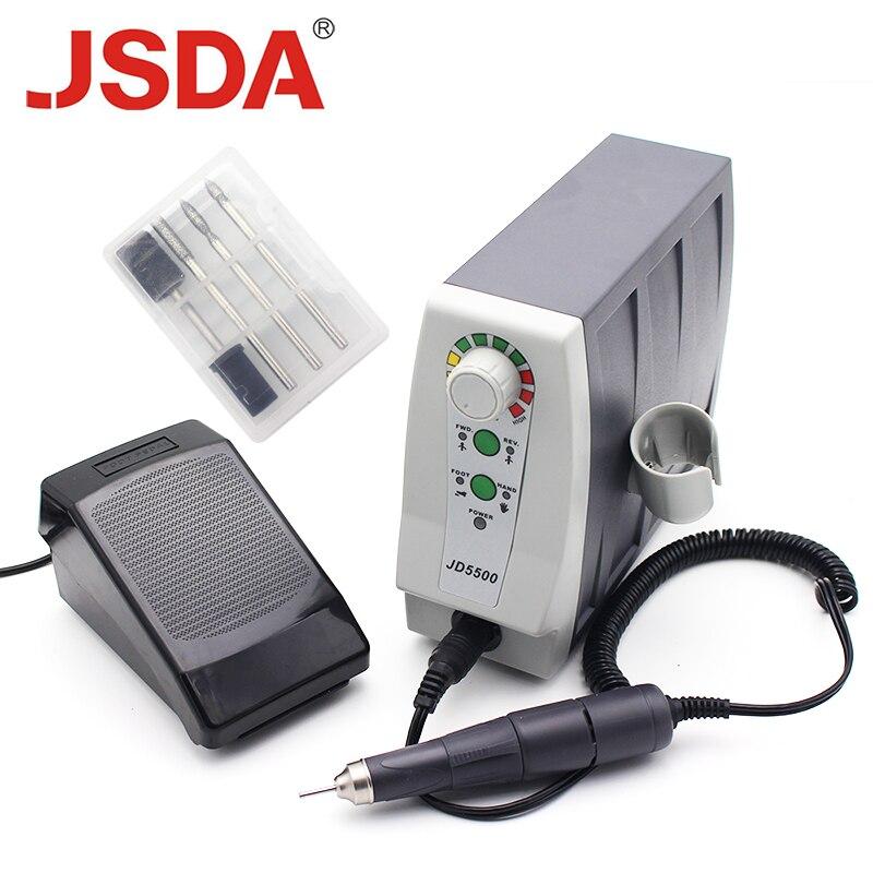 Настоящие JSDA JD5500 85 Вт 35000 об/мин электрические расширенные сверла для ногтей профессиональный инструмент для педикюра машинка для маникюра оборудование для дизайна ногтей