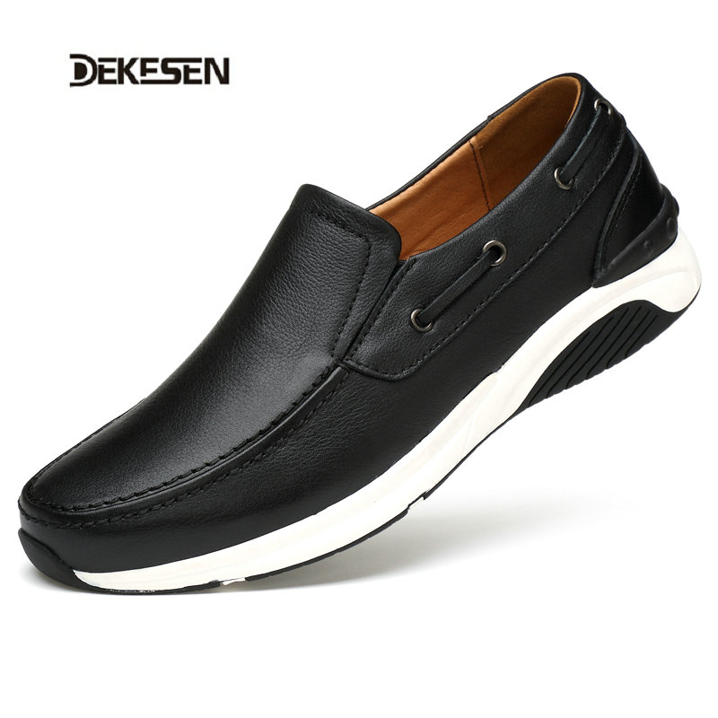 ФОТО DEKESEN 2017 New arrival Genuine Leather Mens Shoes Spring Autumn Male Casual Shoes High Quality Outdoor Shoes for men loafers