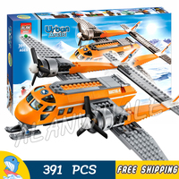 391pcs City Arctic Supply Plane Ice Utility Vehicle 10441 Model Building Blocks Children Assemble Brick Compatible with Lago