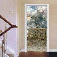 2 pcs/ensemble 3D Balcon Paysage Stickers Muraux Décor À La Maison DIY Porte Art Mural Autocollant Grand Amovible Imitation Porte Stickers Affiche