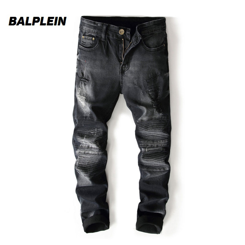 Black Color Fashion Mens Jeans High Street Destroyed Ripped Jeans Homme Balplein Brand Dropship Motor Biker Jeans Men Pants