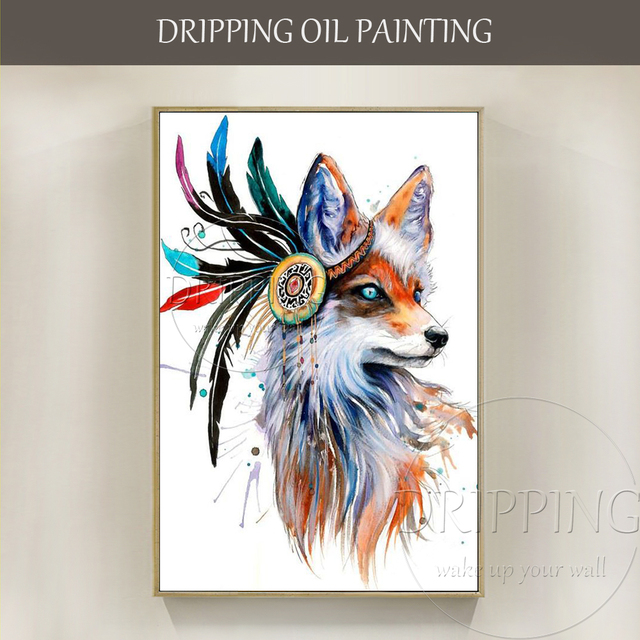 ef75bc99d Free Shipping High Quality Hand-painted Fox Oil Painting on Canvas Beautiful  Fox with Headdress Oil Painting for Living Room