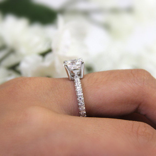 2.7CTW Brilliant Cut Simulated Diamond 925 Sterling Silver with Gold Wedding Engagement Ring