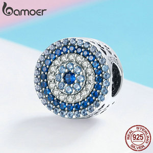 Image 2 - BAMOER Fashion New 925 Sterling Silver Blue Eye Lucky Blue Cubic Zircon Beads Charms fit Necklace Bracelets DIY Jewelry SCC915
