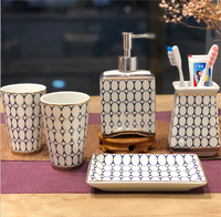 Bathroom Accessories Set For Home Hotel Exquisite Ceramics Soap Dish Bath Set Toothbrushes Cup Holder Soap Dispenser GiftsLFB290