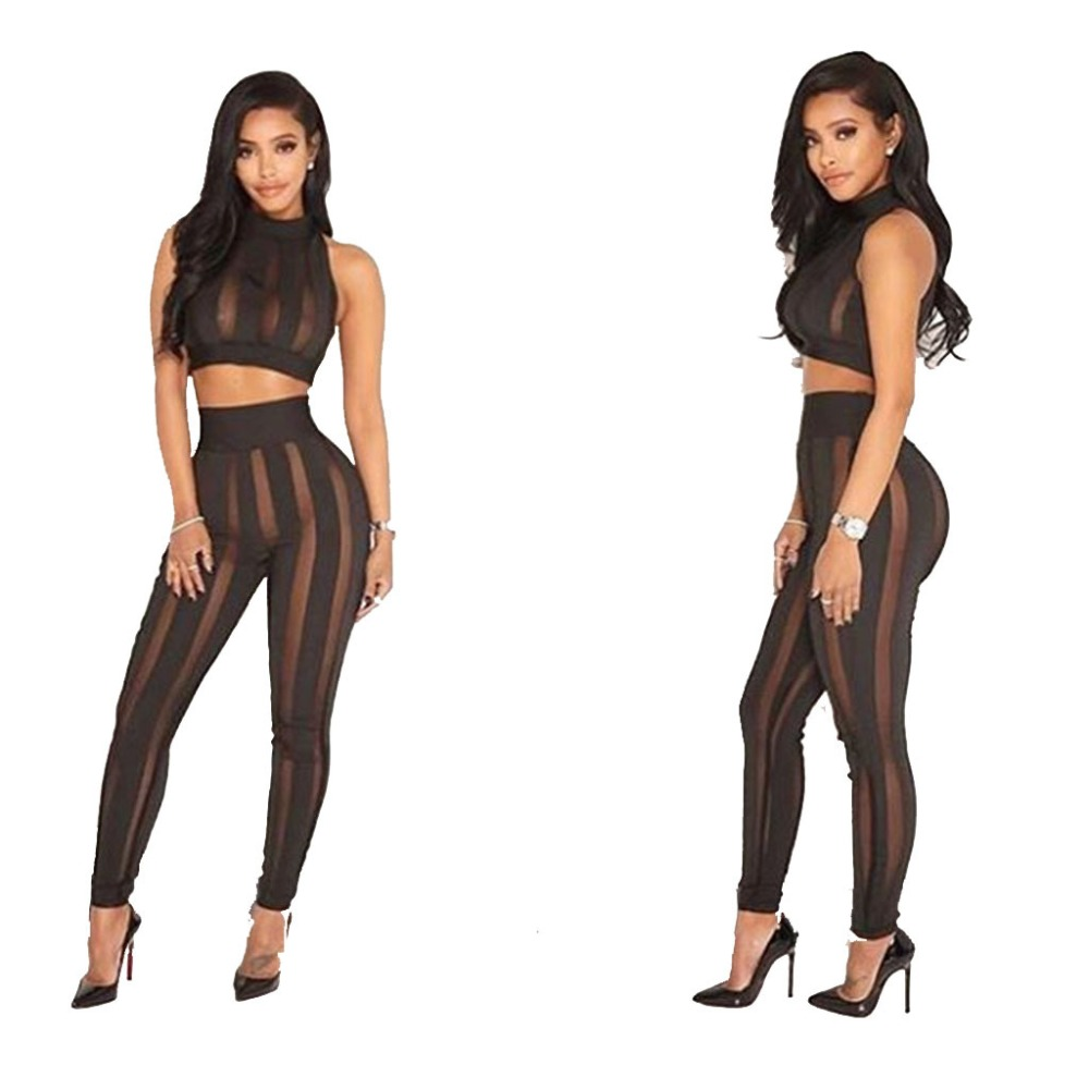 Black Stripe Mesh See Through Overalls Women Sexy Sleeveless Crop Top 2 Piece Set Long Jumpsuit Hollow Out Club Rompers 2XL