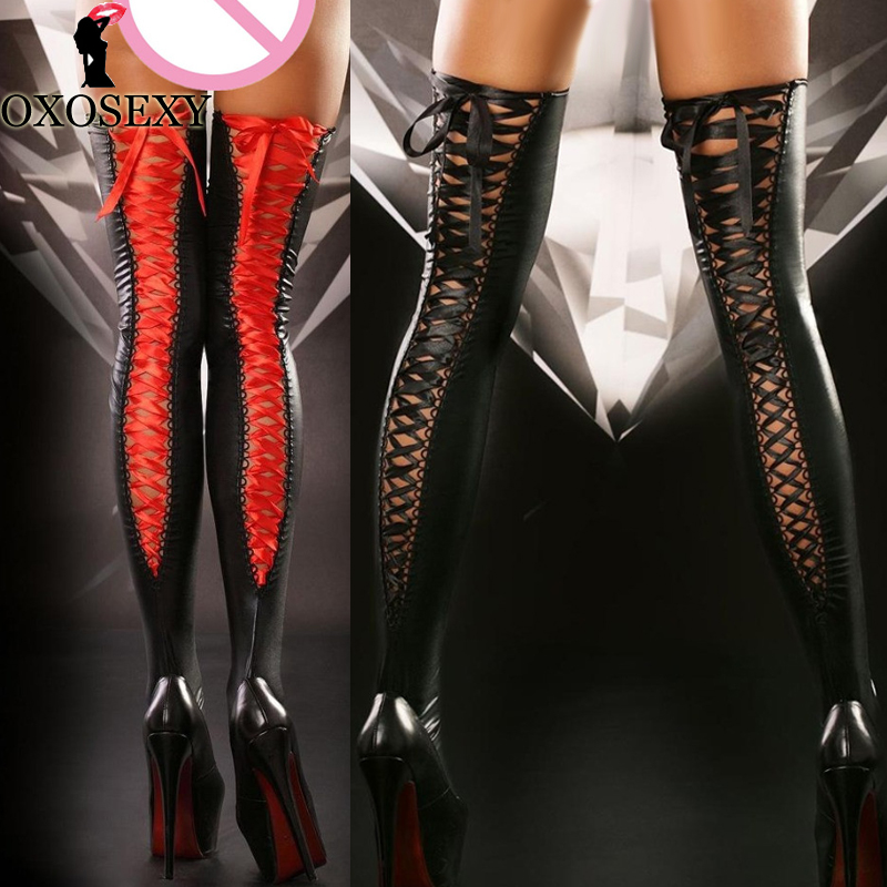Black Red Bandage Latex Leather Thigh High Stockings Sexy Lingerie Hot Stay Up Sexy Women's Sexy Tights Stockings Medias 530