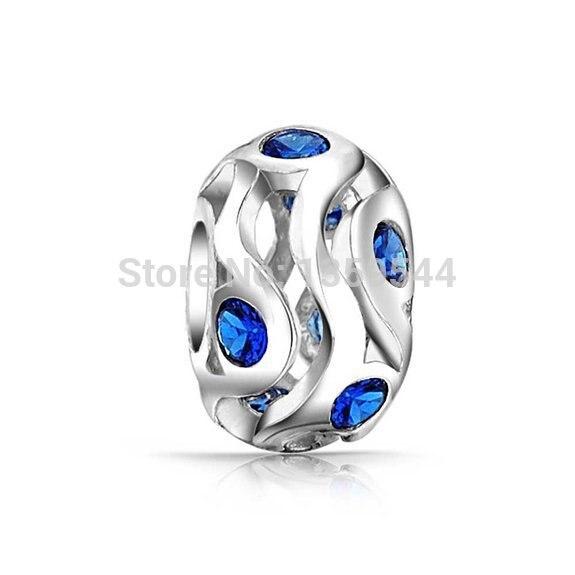 1e3187f469b4 Blue September Crystal 100% 925 Sterling Silver Charm Beads Fit Pandora  European Charms Bracelet M