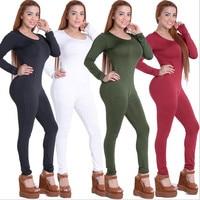 Free Shipping New Arrival 2016 Autumn Women Sexy Bodycon Bodysuit Black O Neck Long Sleeve Skinny