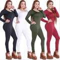 Free Shipping New Arrival 2016 Women Sexy Bodycon Bodysuit Black 4 Colors O-Neck Long Sleeve Skinny Full Jumpsuit Rompers XY