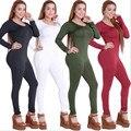 O envio gratuito de nova chegada 2016 mulheres sexy bodycon bodysuit preto 4 cores o pescoço longo manga magro macacão macacão cheio xy