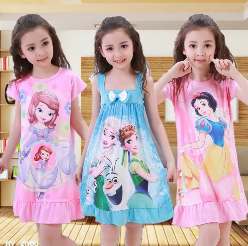 Big Girl Nightdress New 2018 summer Fashion Princess Cartoon Long Kids SleepDress Cotton Children Nightgowns Girl Gift Pajamas
