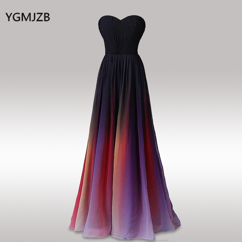 Gradient Color Long Prom Dresses A line Strapless Sweetheart Chiffon Floor Length Formal Evening Party Gown Robe De Soiree