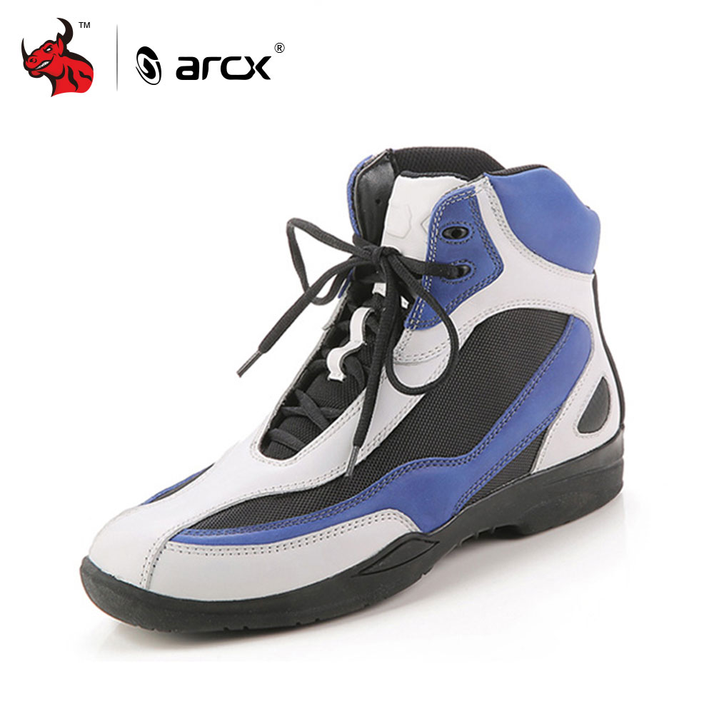 ARCX Genuine Cow Leather Motorcycle Riding Shoes Street Moto Road Racing Motorbike Biker Chopper Cruiser Touring Ankle Boots pro biker motorcycle shoes motocross racing shoes motorbike leather shoes waterproof size eu 40 45 a9001 swx brand moto