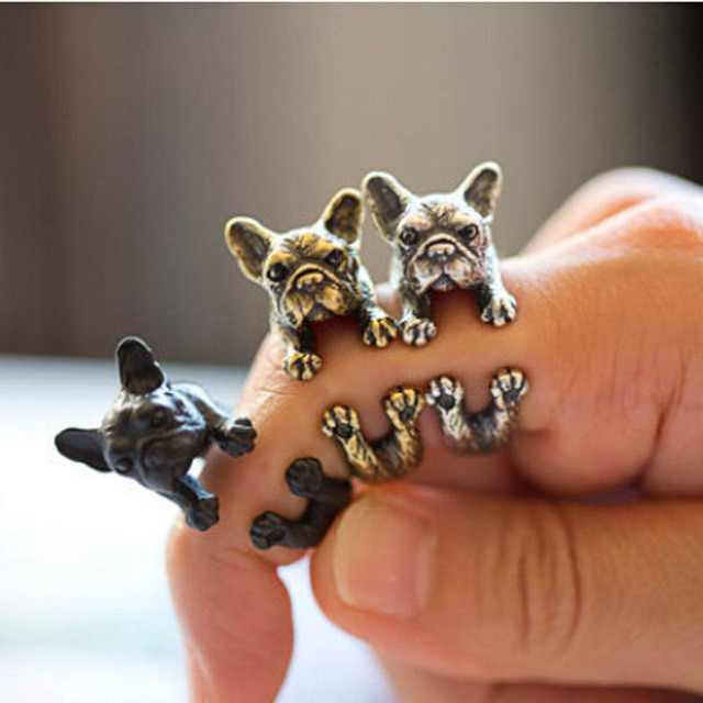 2017 Hiphop Rock Fashion Charming Lovely Animal Lovely French bulldog Pugs ring