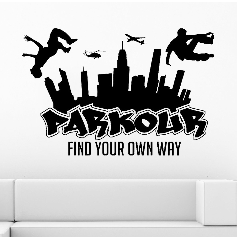 PARKOUR City Silhouette Wall Decals Boys Free Running Jumping Urban Style Skate Graffiti art Wall Sticker Find your Own Way Z250