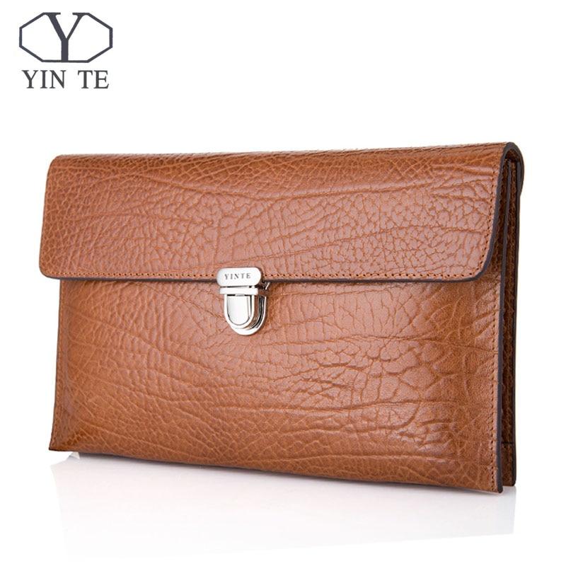 YINTE New Luxury Cowhide Men Clutch Bags Long Leather Men Wallets Purses High Quality Layer Business Clutch Portfolio T8655-2