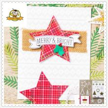 Star Die Cut Tree Bell Metal Cutting Dies and Clear Stamps set for Scrapbooking DIY Card Making Crafts Stencil