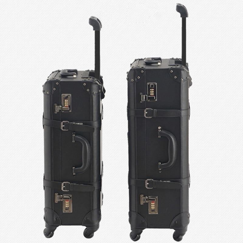 KUNDUI Nya Kvinnor PU Vintage Bagage Resväskor Väskor Universal - Väskor för bagage och resor - Foto 4