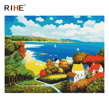 RIHE Beach House Diy Painting By Numbers Abstract Island Oil Painting On Canvas Cuadros Decoracion Acrylic Wall Picture For Room rihe river house diy painting by numbers abstract garden oil painting on canvas cuadros decoracion acrylic wall picture for room