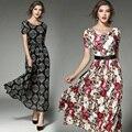 Moda 2017 ucrania mujeres summer dress casual style plus size encaje beach party maxi dress o cuello de manga corta de la vendimia dress