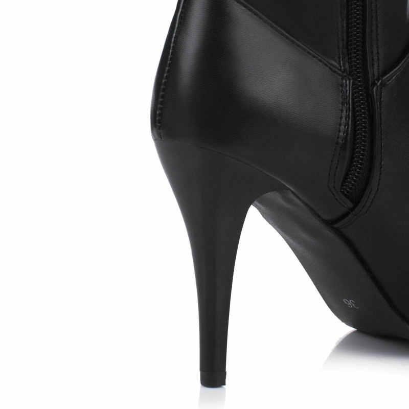 אישה דק עקב גבוהה חורף מעל הברך מגפי אופנה פלטפורמת הבוהן מחודדת מסיבת ירך מגפי שחור לבן