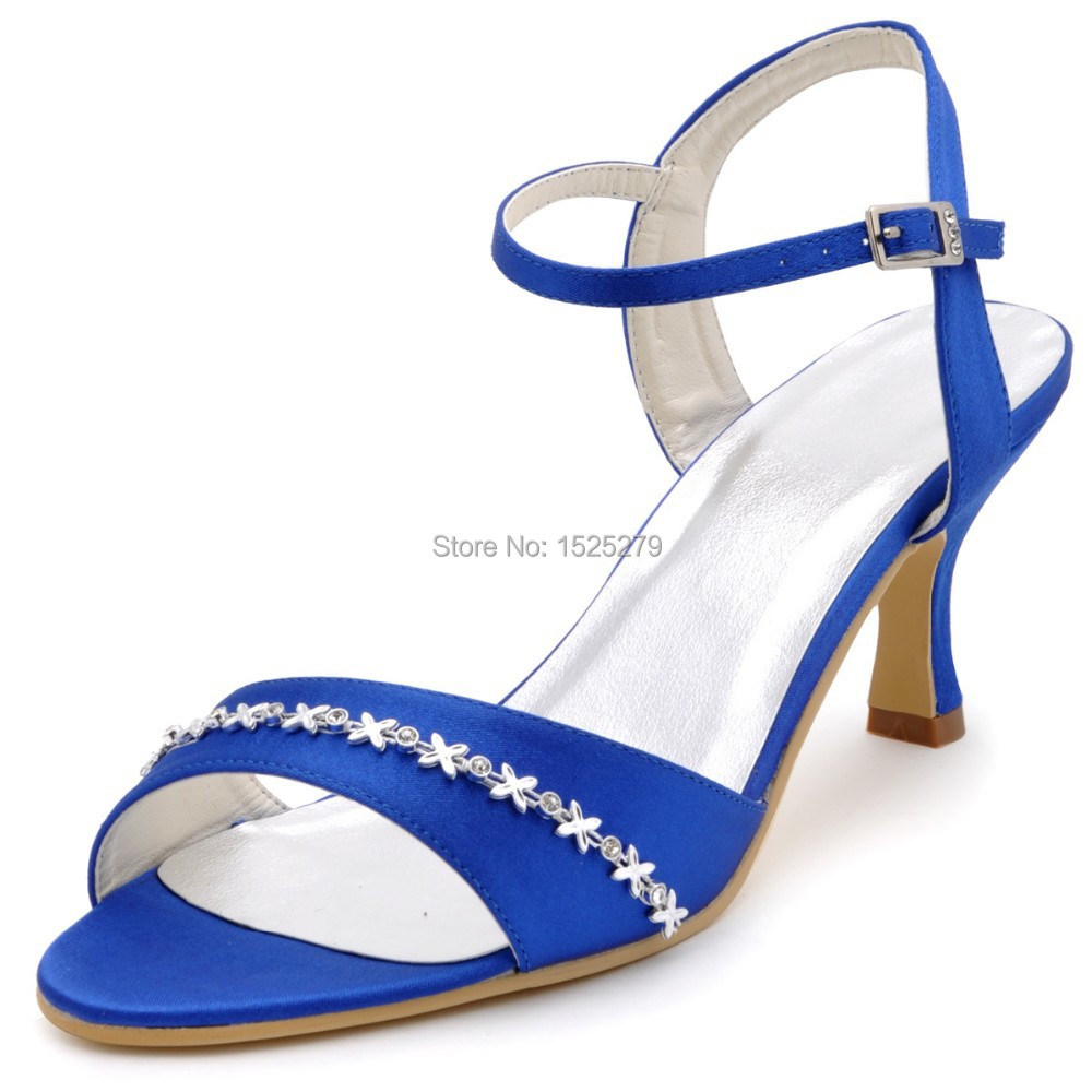 ФОТО EP2127 Blue Women Bridal Open Toe Party Sandals Slingback Rhinestones Satin Buckles Strap Bride Wedding Dress Shoes