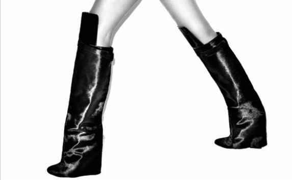 Высокое Качество Конский Волос Кожа Акулы Блокировка Раз По Сравнению Клин сапоги Дизайнер Колено Высокие Женщины Зимние Ботинки Размер