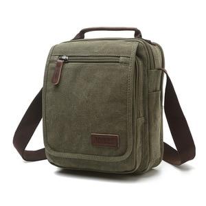 Image 1 - Z.L.D. New vertical canvas school bag high quality messenger bag military shoulder bag large capacity handbag small square bag