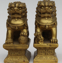 "SCY 129 @ g + + 4 ""En Laiton Chinois Feng Shui Lion Foo Fu Dog Guardion Porte Ball Son Statue paire(China)"