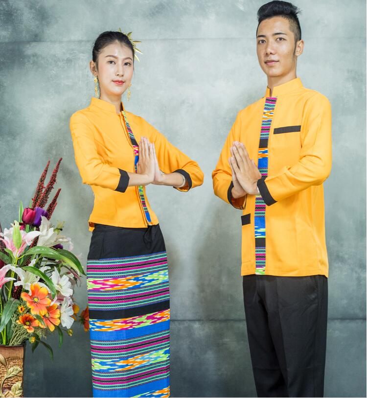 Ethnic Traditional Dai Costumes Autumn Winter Long Sleeves Southeast Asian Restaurant Work Uniform Clothes + Scarves Orange