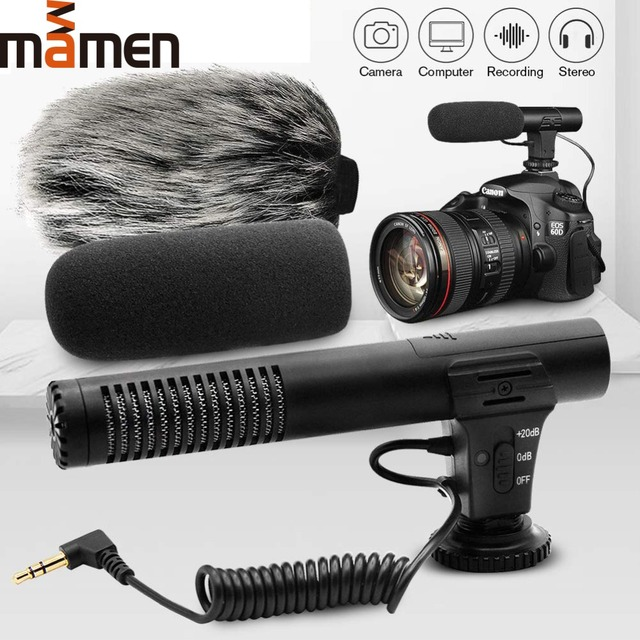 Mamen  3.5MM Audio Super-cardioid Recording Microphone For Camera Video HD Cell Phone Computer Stereo Camcorder Microphone