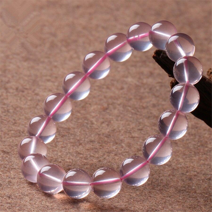 Livraison directe naturel Rose Rose Quartz étoile cristal clair Bracelets femmes Femme extensible Bracelet de perles rondes 11mm 12mm 13mm