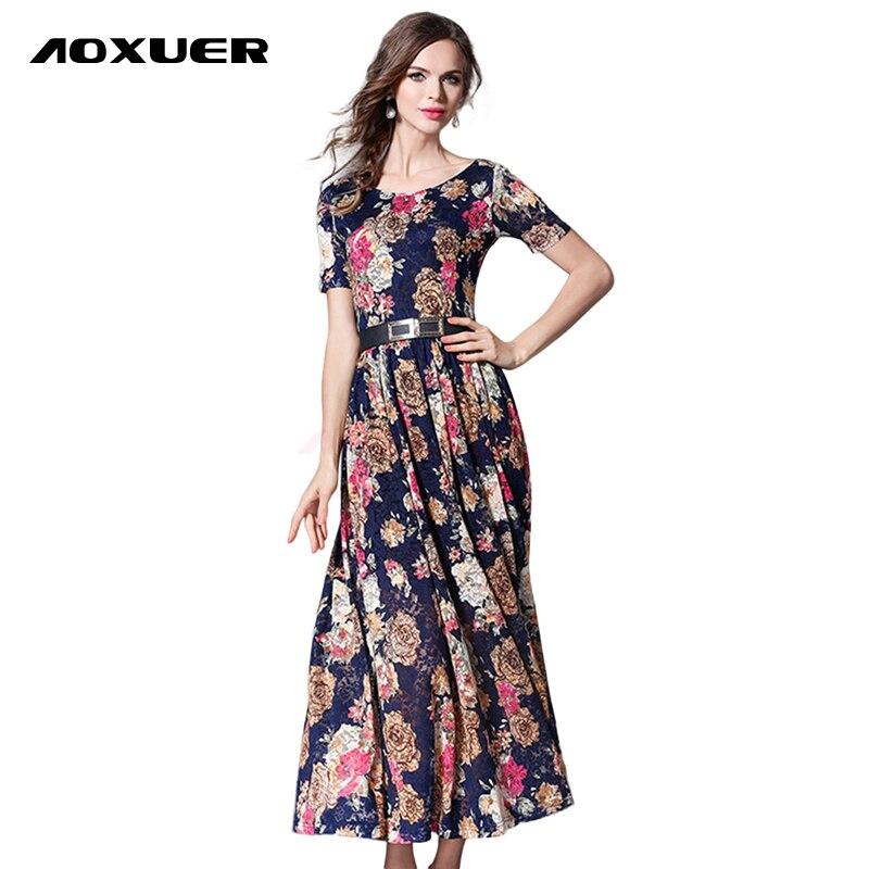 AOXUER Vintage Print Lace Dress Women Short Sleeve Elegant ... - photo #42