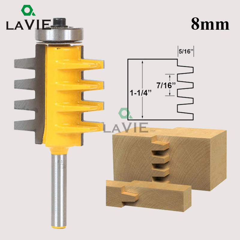 LA VIE 8mm Shank Finger Joint Glue Router Bit Milling Cutter Tenon knife Cone Tenon Woodwork Cutters Power Tools MC02003