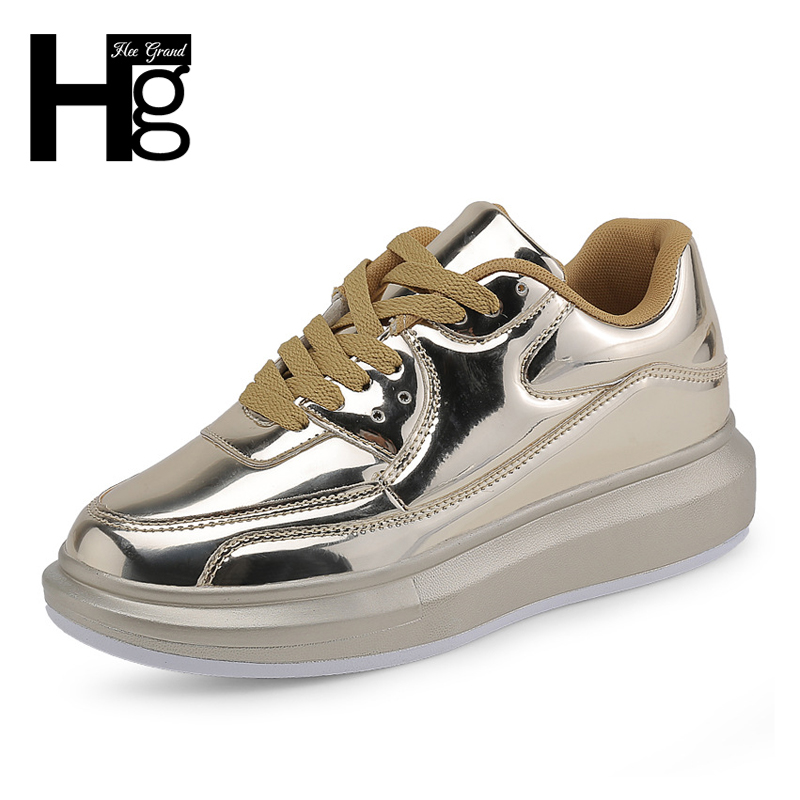 HEE GRAND 2018 New Fashion Solid Women Shoes Shining Height Increasing Platform Shoe Lace-up Gold Sliver Spring Shoes XWD6316 hee grand fashion height increasing women shoes zip white black women casual pumps wedges shoes drop shipping xwc471